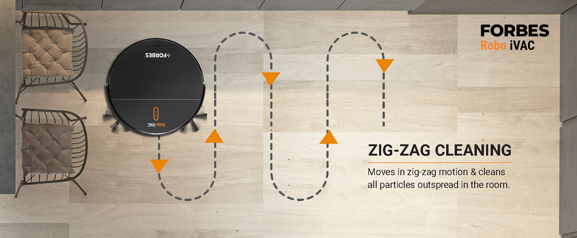 Moves in zig-zag motion & cleans all particles outspread in the room.